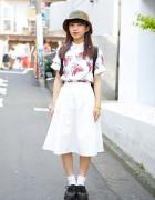 Shark Print Top w/ WEGO Skirt, X-Girl Bucket Hat & Creepers in Harajuku
