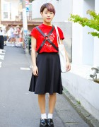 Short Purple Hair, Leather Harness & Emoda Platform Loafers in Harajuku