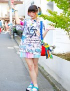 Elleanor's Rainbow Twin Tails, @R3id_ Top & Teva Sandals in Harajuku