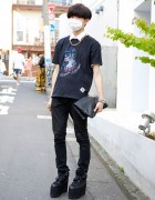 Harajuku Guy w/ Carpe Diem T-Shirt, YRU Flatforms, Skinny Jeans & Clutch