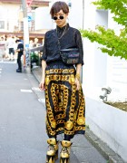 Harajuku Guy's Black & Gold Street Style w/ Fendi Shirt & YRU Platforms