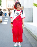 Red Cap & Overalls w/ Panama Boy T-shirt & Sneaker Print Backpack in Harajuku