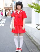 Harajuku Girl in Red Sailor Outfit w/ Neon Genesis Evangelion Bag