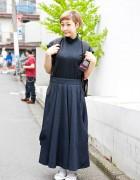 Harajuku Girl in All Black w/ Kenzo, Resale Fashion & Teva Sandals