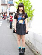 Def Leppard T-Shirt w/ Mini Skirt, Spikes Necklace & Boots in Harajuku