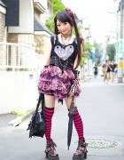Gothic Harajuku Girl w/ Twin Tails, h.NAOTO Corset & Algonquins Tutu