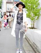 Blue Hair, Hat, Emoda Striped Pants & Zebra Clutch in Harajuku