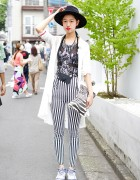Blue Hair, Hat, Emoda Striped Pants & Zebra Clutch in Harajuku
