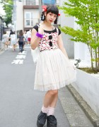 Cherry Print, Swimmer Tutu, Spinns Backpack & Platform Sneakers in Harajuku