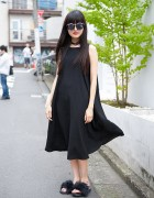 Black Dress w/ Translucent Backpack & Furry Sandals from Bubbles Harajuku
