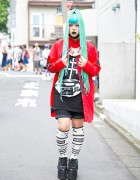 Blue-Haired Brooke Candy Fan in Harajuku w/ Long Clothing, Damage & YRU