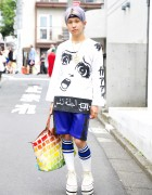 Purple Haired Harajuku Guy w/ Mishka, Joyrich, Jeremy Scott & Pin Nap