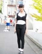 Bustier Over T-Shirt, Nadia Chokers, Skinny Jeans & Sandals in Harajuku