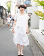 Southpaw Dress w/ Sailor Moon Earrings & Geta Sandals in Harajuku