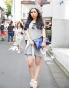 Harajuku Girl in Beret & Denim Cutoffs w/ Moussy, Esperanza & Joyrich