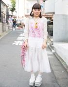 Harajuku Girl w/ Braided Hair, Resale Sheer Dress, Cross Choker & Platform Sneakers