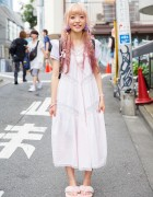 Pink-Tipped Hair, Fuzzy Flip Flops & Etsuna Otsuka Accessories in Harajuku