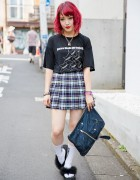 Harajuku Fashion Blogger w/ Fuchsia Hair, American Apparel Plaid Skirt & Justin Davis