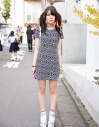 Twin Tails & Mini Dress w/ Liz Lisa Sandals & Holographic Backpack in Harajuku