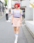 Daisies Top, Orange Bob Hairstyle & Spinns Backpack in Harajuku