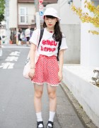 Nakayoshi Shi Chao T-Shirt, Gingham Skirt, Spank! Tote & Tabi Shoes in Harajuku