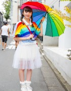 Rainbow Top & Sheer Skirt w/ Panama Boy Accessories in Harajuku