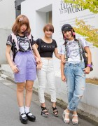 Harajuku Girls In Suspenders, Ripped Jeans & Pompoms w/ WEGO, Romantic Standard & Barbie
