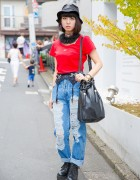 MYOB Bucket Hat, Ripped Jeans & Goocy Tassel Bag in Harajuku