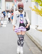 QissQill Designer w/ Lilac Hair, Winged Belt, Harness, Mask & Yin-Yang Bag in Harajuku