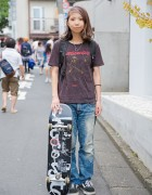 Harajuku Skater Girl w/ The Birthday Tee, Undercover & Vans TNT5 Sneakers