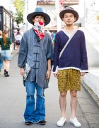 Harajuku Guys in Hats w/ Fashion by Elephant TRIBAL Fabrics, Boy & Feets