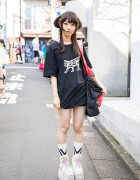 Harajuku Girl w/ Undercover Skeleton Cat T-Shirt & Buffalo Platforms