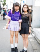 Harajuku Girls in Pleated Skirts w/ Purple Plague Top, Disney Backpack & Platform Loafers