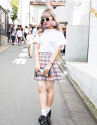 Pompom Earrings & Pink Plaid Skirt w/ Heeled Loafers in Harajuku