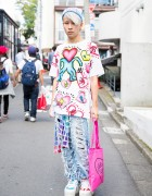 "Keith Haring Top, VidaKush ""PSYCHO"" Necklace & Nikki Lipstick Bag in Harajuku"