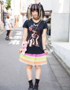 "Twin Tailed Harajuku Girl w/ ""Cursed"" Hair Bow, Eyeball Necklace & Pink Teddy Bear"