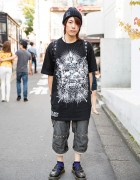"Gazette Fan in Harajuku w/ ""Eye of Providence"" T-Shirt, Creepy Doll & Evil Clown"
