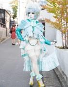 Shironuri Artist Minori in Baby Blue w/ Ruffles & Lace