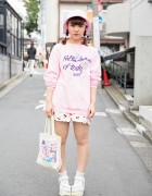 Harajuku Girl in Cute Pink & Cherry Print w/ Yum Yums & Nile Perch