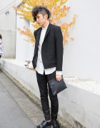 Harajuku Guy w/ Partially Shaved Hair, Black Suit & Clutch