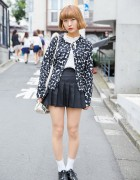 Bob Hairstyle w/ Emoda Heart Cardigan & American Apparel Pleated Skirt in Harajuku