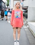 Harajuku Girl w/ Twin Tails, Candy Stripper Sweatshirt & Snidel Sneakers