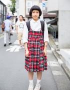Harajuku Girl in Plaid Pinafore, Gremlins x Converse Sneakers & Adidas Backpack