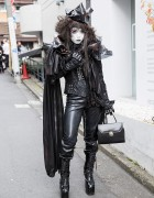 Shironuri Minori in All Black w/ Dark Eye Makeup & Lace-up Boots