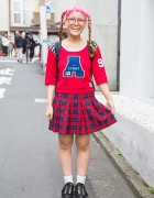 Pink Braids & Glasses w/ Aymmy Top, Plaid Skirt, Spinns & Powerpuff Girls in Harajuku