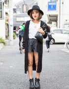 Black & White Harajuku Street Style w/ Leather Shorts, Hat, Clutch & Gyda