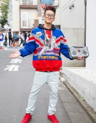 Hi-Top Fade, Boombox Bag, Adidas Olympics Sweatshirt & Sneakers in Harajuku