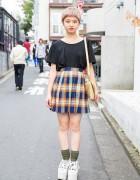 Cute Short Hair, Uniqlo Tee, Plaid Skirt, Vivienne Westwood & Tokyo Bopper