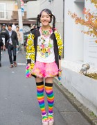 Harajuku Decora Girl in 90884 Top, Super Lovers Jacket & Rainbow Socks