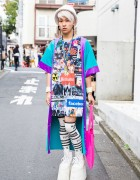 DAMAGE Logo Top, Galaxxxy Coat, MYOB & Nikki Lipstick in Harajuku